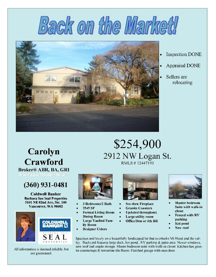 Camas, WA-Clark County Real Estate for Sale at $254,900! Three Bedroom, Two Bath, 2545 square foot two level Prune Hill view home on .20 acre lot located at 2912 NW Logan Street, Camas, Washington 98670 in Clark County area 32 which is the Camas city limits. The RMLS number is 12447193. It has one wood burning fireplace and is considered to be a view home with a view of the local mountains and valley. It was built in 1979. The local high school is Camas High. The annual taxes due are $3,902.86. It is not a short sale nor is it a bank owned listing. The listing agent is Carolyn Crawford with Coldwell Banker Seal located at 5101 NE 82nd Avenue Suite 100, Vancouver, Washington 98662. Her email address is carolyncrawford@cbseal.com and her web site address is http://www.carolyncrawford.com