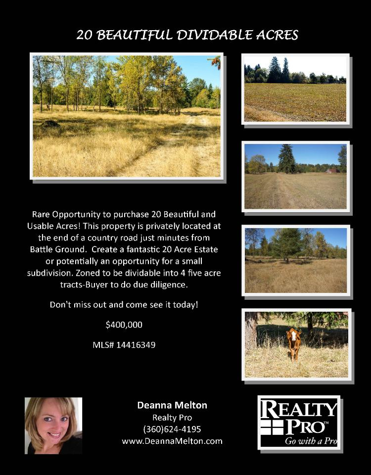 Real Estate for Sale at $400,000! Twenty Beautiful Dividable Usable Acres located at end of a country road minutes from Battle Ground located at 8517 NE 244th Street, Battle Ground, Washington 98604 in Clark County area 61 which is the Battle Ground area. The RMLS number is 14416349. It is undeveloped land so there is no fireplace nor buildings. The local high school is Battle Ground High. The annual taxes due are $3,143.64. It is not a short sale nor a bank owned property. The listing agent is Deanna Melton with Realty Pro, Inc located at 14201 NE 20th Avenue Suite 2102, Vancouver, Washington 98686. Her email address is deannalmelton@gmail.com and her web site address is http://www.DeannaMelton.com. All information on this eFlyer is believed to be reliable as of September 24th, 2014, but is not guaranteed and subject to change. Buyer is to verify all information. Say you saw this listing information on http://www.ezRealEstateFlyers.com.