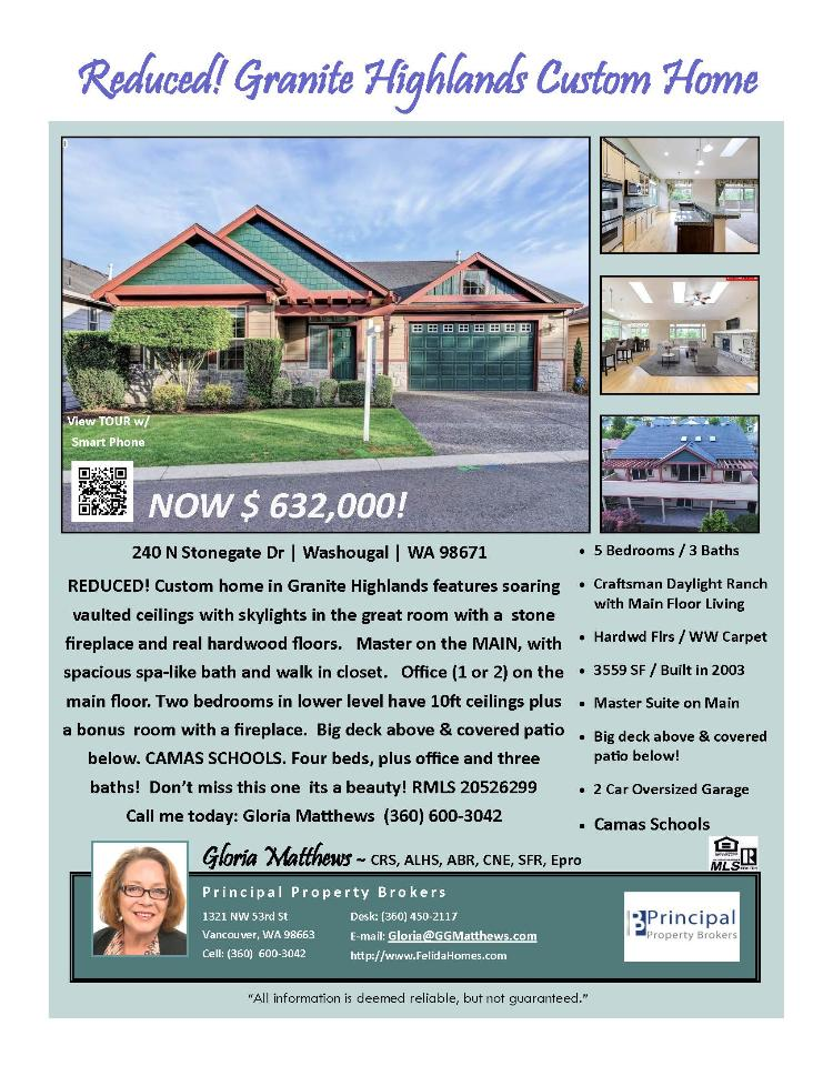 Real Estate Now for Sale at $632,000! Come and view this custom five bedroom, three bath, 3559 square foot two level Granite Highlands daylight ranch with main floor living on a landscaped lot located at 240 Stonegate Drive, Washougal, Washington 98671 in Clark County area 33. The RMLS number is 20526299. It has two gas burning fireplaces and a territorial view of a river. It was built in 2003 and has an attached two car oversized garage. The local high school is Camas High and the annual taxes due are $7,341.95. It is not a short sale nor a bank owned property. Gloria Matthews is the listing broker with Principal Property Brokers located at 1321 NW 53rd Street, Vancouver, Washington 98663. Her email address is gloria@ggmatthews.com. All information on this eFlyer is believed to be reliable as of July 20th, 2020, but is not guaranteed and subject to change. Buyer is to verify all information. RMLS/NWMLS Real Estate Brokers are committed to an Equal Housing Opportunity. Say you saw this listing information on https://www.ezRealEstateFlyers.com.