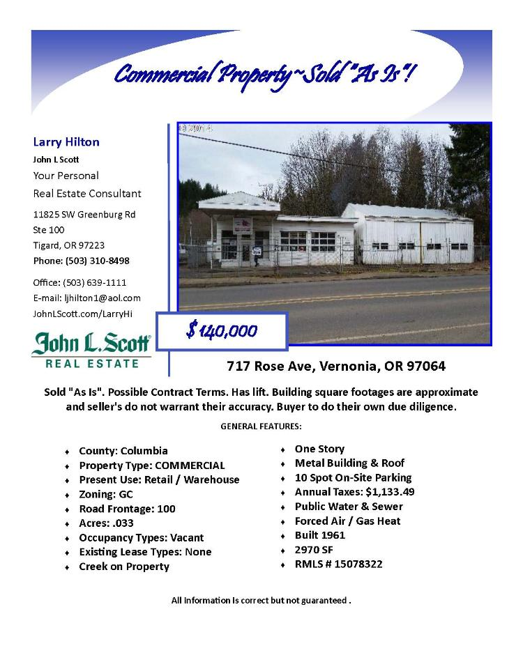 Real Estate for Sale at $140,000! 2970 square foot Commercial Property sold