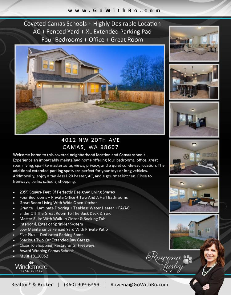 Real Estate for sale at $485,000! Come and view this impeccably maintained two story mountain view home on a .15 acre lot with an extra large extended parking pad located at 4015 NW 20th Avenue, Camas, Washington 98607 in Clark County area 32 which is in the Camas city limits. The RMLS number is 18120852. It has one gas burning fireplace and a mountain and territorial view. It was built in 2016 and has an attached two car extra deep garage. The local high school is Camas High and the annual tax due is $2,334.40. It is not a short sale nor a bank owned property. Rowena Lusby is the listing agent with Windermere Stellar located at 12500 SE 2nd Circle Suite 205, Vancouver, Washington 98684. Her email address is rowena@gowithro.com and her website address is http://www.gowithro.com. All information on this eFlyer is believed to be reliable as of March 21st, 2018, but isnot guaranteed and subject to change. Buyer is to verify all information. Say you saw this listing information on http://www.ezRealEstateFlyers.com.