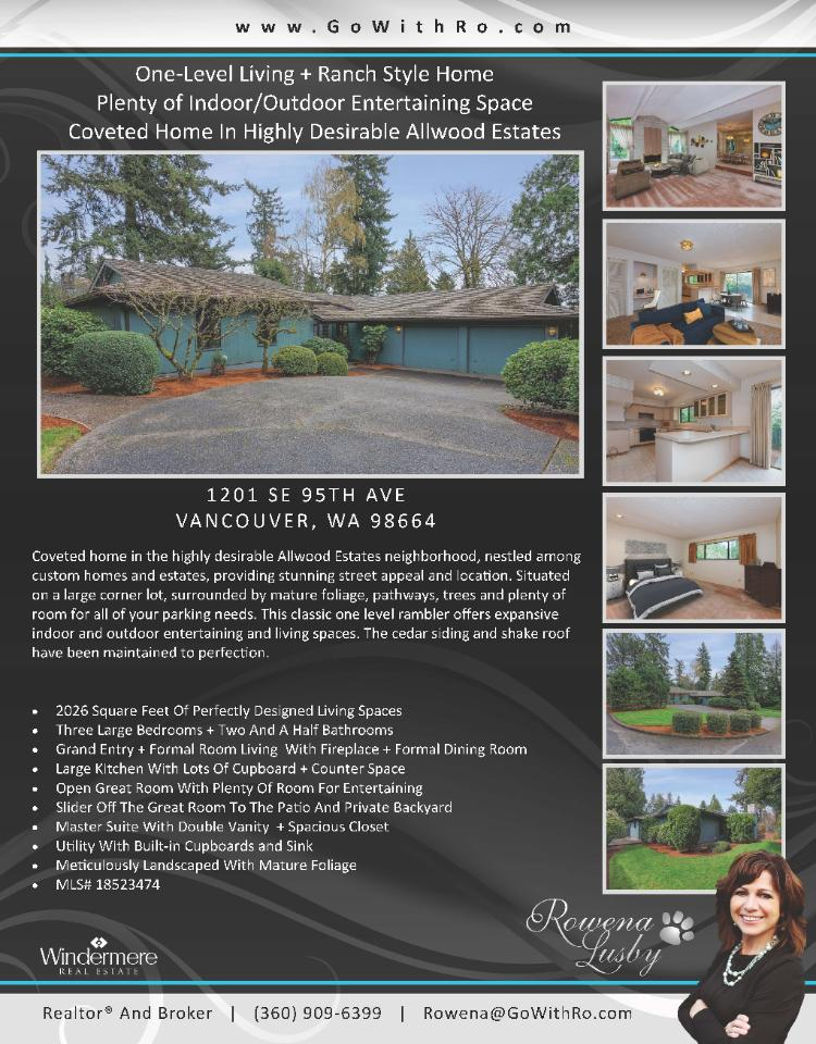Real Estate for sale at $395,000! Come and view this coveted three bedroom, two full and one half bath, 2026 square foot one level Allwood Estates ranch style home on a large .23 acre lot located at 1201 SE 95th Avenue, Vancouver, Washington 98664 in Clark County area 23 which is the East Heights area in Vancouver. The RMLS number is 18523474. It does not have a fireplace nor is it considered to be a view home. It was built in 1973 and has an attached two car oversized garage. The local high school is Mountain View High and the annual taxes due are $3,852.51. It is not a short sale nor a bank owned property. Rowena Lusby is the listing agent with Windermere Stellar located at 12500 SE 2nd Circle Suite 205, Vancouver, Washington 98684. Her email address is rowena@gowithro.com and her website address is http://www.gowithro.com. All information on this eFlyer is believed to be reliable as of April 6th, 2018, but is not guaranteed and subject to change. Buyer is to verify all information. Say you saw this listing information on http://www.ezRealEstateFlyers.com.