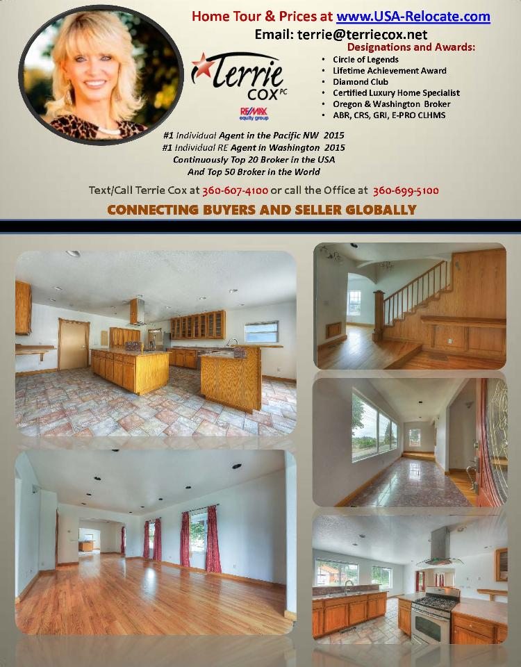 Real Estate for sale at $359,000! Come and view this five bedroom, three bath, 3567 square foot remodeled turn of the century three level, two story, Camas home on a .12 acre corner lot located at 1103 Division Street, Camas, Washington 98607 in Clark County area 32 which is in the Camas city limits. The RMLS number is 16340757. It does not have a fireplace and does have a territorial view of trees. It was built in 1901 and has a two car attached garage. The local high school is Camas High and the annual taxes due are $4,469.25. It is not a short sale nor a bank owned property. Terrie Cox is the listing agent with RE/MAX Equity Group located at 7700 NE Greenwood Drive Suite 100, Vancouver, Washington 98662. Her email address is terrie@terriecox.net and her website address is http://www.usa-relocate.com. All information on this eFlyer is believed to be reliable as of August 26th, 2016, but is not guaranteed and subject to change. Buyer is to verify all information. Say you saw this listing information on http://www.ezRealEstateFlyers.com.