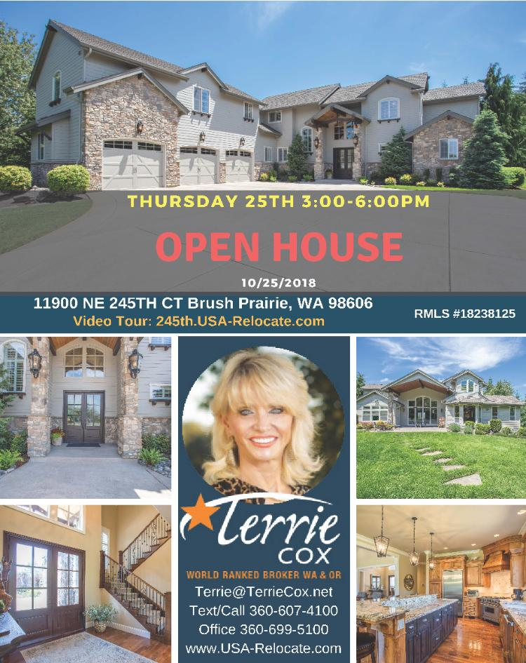 Real Estate for Sale at $1,250,000! Come and view this magnificent five bedroom, four bath, 5429 square foot two story custom Summer Hills craftsman style home on a large .94 acre greenbelt lot on a cul-de-sac located at 11900 NE 245th Court, Brush Prairie, Washington 98606 in Clark County area 62 which is the Brush Prairie or Hockinson area in Clark County. The RMLS number is 18238125. It has two propane burning fireplaces and a view of a mountain and city lights. It was built in 2005 and has an attached three car garage. The local high school is Hockinson High and the annual taxes due are $11,579.71. It is not a short sale nor a bank owned property. Terrie Cox is the listing broker with RE/MAX Equity Group located at 7700 NE Greenwood Drive Suite 100, Vancouver, Washington 98662. Her email address is terrie@terriecox.net and her website address is http://www.usa-relocate.com. All information on this eFlyer is believed to be reliable as of October 24th, 2018, but is not guaranteed and subject to change. Buyer is to verify all information. RMLS/NWMLS Real Estate Brokers are committed to an Equal Housing Opportunity. Say you saw this listing information on http://www.ezRealEstateFlyers.com.