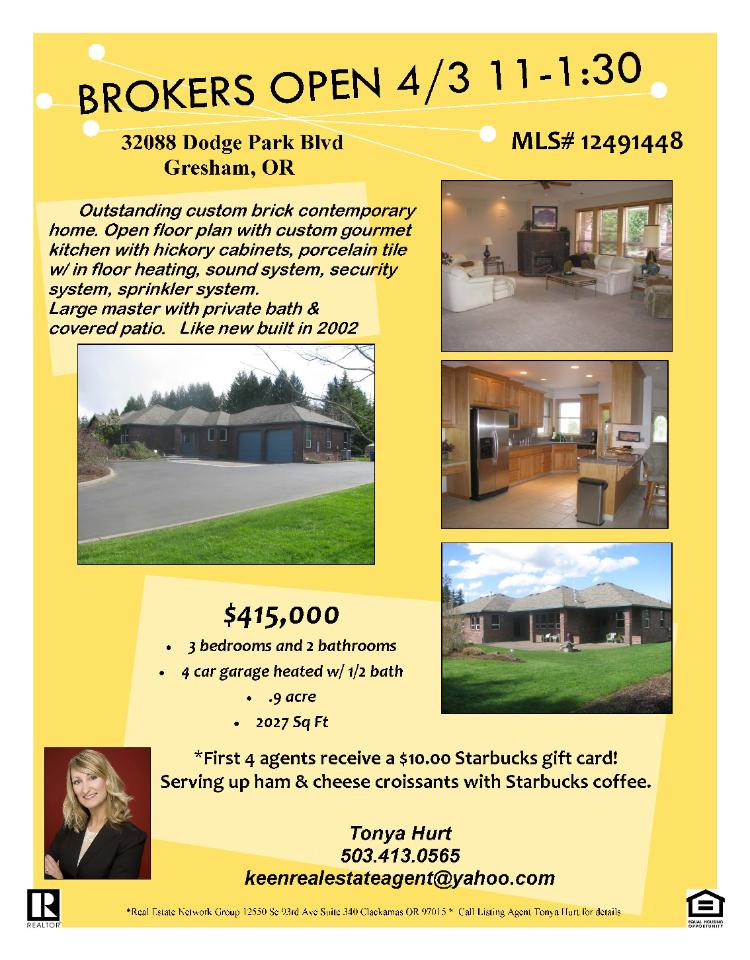 Gresham, Oregon-Multnomah County Real Estate for Sale at $415,000. Three Bedroom, two Bath, 2027 square foot one level custom brick contemporary home on .93 acre lot located at 32088 SE Dodge Park Boulevard, Gresham, OR 97080 in Multnomah County. The RMLS number is 12491448. It has one gas fireplace and a view of trees. It was built in 2002. The local high school is Sam Barlow High. The annual taxes due are $4,860.56. It is not a short sale nor a bank owned list The listing agent is Tonya Hurt with Real Estate Network Group located at 12550 SE 93rd Avenue Suite 340, Clackamas, Oregon 97015. Her email address is keenrealestateagent@yahoo.com